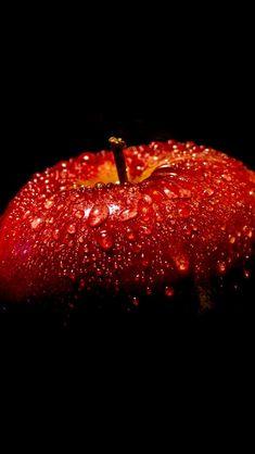 Красное яблоко, черный фон iPhone 5 (5S) (5C) обои - 640x1136