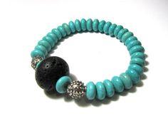 Unique bracelet-Lava rock-Volcanic lava-Santorini lava-Turquoise beads-Turquoise magnesite-Turquoise howlite-Natural beads-Eco