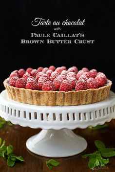 French Chocolate Tart with Brown Butter Crust  -  the real deal! It's super simple and super decadent, an authentic French chocolate dessert that's alway a huge hit!
