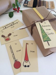 Printable Christmas gift tags with hand drawn Christmas illsutration. Santa, rendeer, Christmas tree, and decoration. Printable set of 10 gift tags. 5 different models, hand drawn and digitally colored. - WHAT YOU GET - 1 PDF file with 10 gift tags to Christmas Tags Printable, Diy Christmas Cards, Noel Christmas, Christmas Gift Wrapping, Christmas Humor, Christmas Decorations, Printable Tags, Homemade Christmas, Good Christmas Gifts