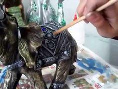 Como pintar cerámica con técnica de pincel seco Elefante Indu ...