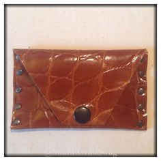 Image of Leather Card Holder - Tan - 'Croc Studs'