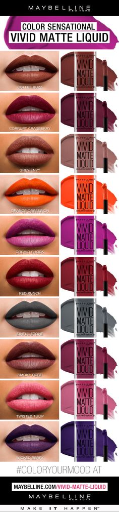 10 new shades of our fan favorite Vivid Matte Liquid Lipsticks calls for 10 more new ways to rock a bold lip!  Whether you want a bold lip for prom or a night out look, we've got you covered!  The most hydrating, comfortable to wear matte lipstick yet - t