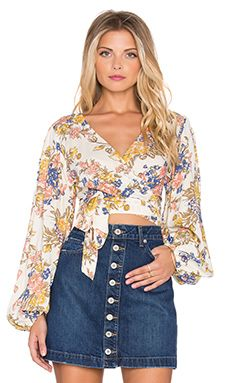 AUGUSTE Boho Wrap Top in Summer Breeze Floral