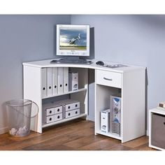 Bureau informatique dangle design avec rangement blancbleu Lelia