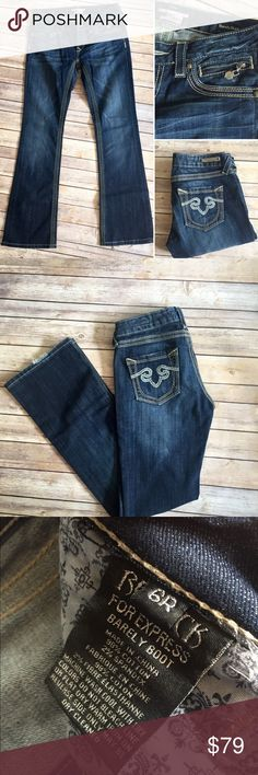 """ReRock for Express Jeans These are no longer sold in stores! Re Rock for Express jeans; product description in last photo from Express website. Size 6, inseam is 33"""" in great condition however there is a bit of wear on the hem of the back of the jeans (not in front so won't be noticeable). Express Jeans Boot Cut"""