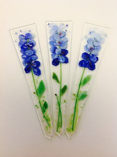 Fused Glass Plant Stakes and Garden Stakes (Blue Bonnet)