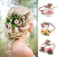 US Women Beach Wedding Flower Hair Garland Crown Headband Floral Wreath Hairband Beach Wedding Flowers, Beach Wedding Hair, Wedding Bride, Bridal Hair, Beach Hair, Boho Wedding, Wedding Favors, Hair Garland, Hair Wreaths