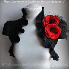 Bolero Shrug, Black Red, Goth Couture Felted Merino Silk, Roses Corsage / Brooch, Cap Sleeves, US 6 Valentines. $235.00, via Etsy.
