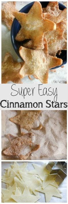 These super easy Cinnamon Stars are made from won ton skins and tossed in a cinnamon sugar mixture to add a touch of sweetness! How To Make Super Easy Cinnamon Stars take two tapas Easy Desserts, Delicious Desserts, Dessert Recipes, Yummy Food, Luau Desserts, Tapas Recipes, Crab Recipes, Birthday Desserts, Picnic Recipes