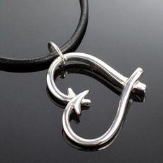 Double Fish Hook Heart Necklace Fish Hook Bracelet, Fish Hook Jewelry, Silver Shark, Animal Jewelry, Heart Pendant Necklace, Sterling Silver Bracelets, Jewlery, Jewelry Necklaces, Lockets