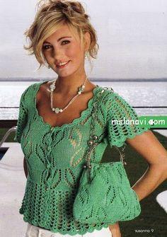 Вязание: ажурная блуза и сумочка