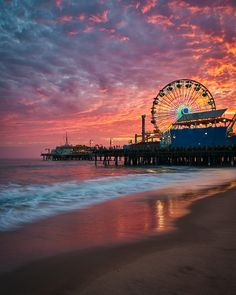A Fiery Sunset over Santa Monica PierYou can find Santa monica and more on our website.A Fiery Sunset over Santa Monica Pier Beach Aesthetic, City Aesthetic, Travel Aesthetic, Santa Monica Beach, Santa Monica Boardwalk, Places To Travel, Places To Go, Travel Destinations, Los Angeles Wallpaper