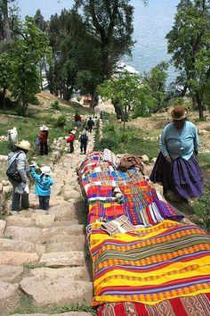 Colorful Hand made textiles 'Aguayo' selling at Isla del Sol, Titicaca Lake, Copacabana, Bolivia