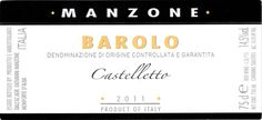 Manzone Barolo Castelletto 2011 Food Combining, Fine Wine, Wines, The Selection, Cards Against Humanity, Italy, Wine Labels, Bottles, Italia