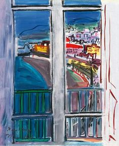 "Raoul Dufy--""In this work Dufy depicts the view from the closed window of his studio in the Hôtel Suisse, which looked out over the Promenade des Anglais, the celebrated shoreline road fringed with palm trees that hugs the curved Bay of Angels in downtown Nice. The work owes an equal debt to Henri Matisse's earlier hotel window paintings and to Piet Mondrian's severely geometric abstractions. The rectilinear windowpanes, placed parallel to the picture plane, serve as a framing device for..."