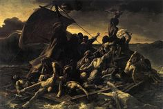 Théodore Géricault's The Raft of the Medusa Oil on canvas, Louvre, Paris. 'Compressed / like bodies on Medusa's Raft, a frantic / mess of arms and legs! Caravaggio, Art Romantique, Museum Paris, Tableaux Vivants, Louvre Paris, Gustave Courbet, Classic Paintings, Spanish Artists, Oil Painting Reproductions