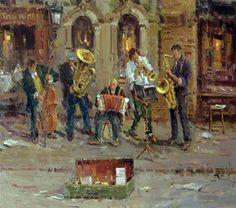 "Daily Paintworks - ""Street Musicians(Paris)"" - Original Fine Art for Sale - © Mostafa Keyhani"