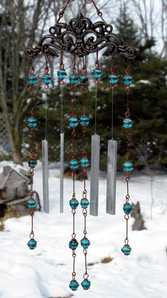 Windchime / Wind Chime with Recycled by tapestryarabianfarm by martha - Blue Beads - Wind Chime