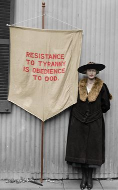 """A colorized version of a picture of a suffragist in She is wearing an angel pin with the letters """"U."""" so I assume that she is an American suffra. Library Of Congress, British Museum, Suffrage Movement, Riot Grrrl, History Teachers, Human Rights, Women's Rights, Women In History, Civil Rights"""