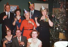 New Year's Party and vintage Christmas tree, 1950s by ElectroSpark....