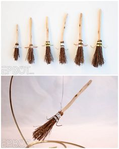 "truebluemeandyou: ""DIY Mini Harry Potter Quidditch Broom Ornament Tutorial from EPBOT. Detailed tutorial with alternative supplies and tools. For more Harry Potter holiday decor and DIY gifts: DIY..."