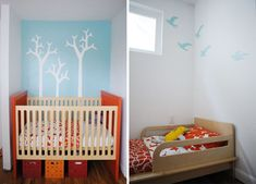 Design Solutions for Shared Kids Bedrooms..Using the same bedding (top photo) for both the crib and toddler bed in this room ties them together. As does using the same color paint for wall accents.