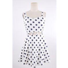 Womens White Polka Dots Hollow Waist Suspender Dress