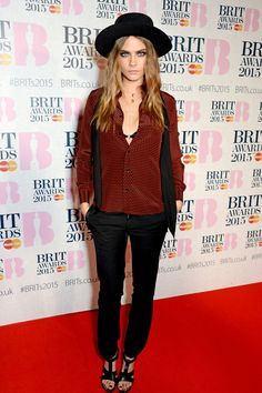 Wearing a Saint Laurent outfit with a Jennifer Fisher necklace at the Brit Awards 2015 at The O2 Arena on Feb. 25, 2015, in London.   - Cosmopolitan.com