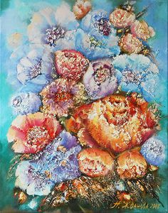 Colorful contemporary flowers painting oil on canvas wall art. #contemporary #art #flowers #painting #canvas #wallart