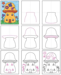 There's nothing like imagining how to draw a fairy house to stir one's imagination, no matter how young or old you might be. Easy Chalk Drawings, Easy Doodles Drawings, Easy Drawings For Kids, Colorful Drawings, House Drawing For Kids, Drawing Lessons For Kids, Drawing Tutorials For Kids, Drawing Projects, Art Projects