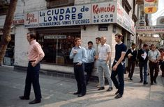 England stars including Alan Ball, Geoff Hurst, Bobby Moore and Peter Osgood stroll around a Mexican village in May 1970, ahead of the World Cup finals