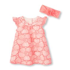 Baby Girls Ruffle Sleeve Embroidered Floral A-Line Dress And Headwrap Set