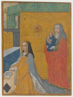 Gérard Horenbout, Anne de Bretagne en prière, avec, derrière elle, Sainte-Anne tenant une Vierge à l'enfant.