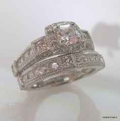 Beautifully detailed diamond wedding band set