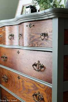 Two-Tone Painted Dresser Makeover in Cypress Vine Green and Wood – Average But Inspired Refurbished Dressers, Dresser Refinish, Redone Dressers, Green Dresser, Tall Dresser, Two Toned Dresser, Dresser Pulls, Diy Furniture Renovation, Furniture Makeover