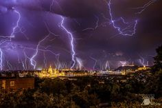 Hungarian photographer Zoltán Vanik captured this stunning panoramic image of Budapest, lit by dozens of lightning bolts during a severe thunderstorm a few days ago. Star Images, Panoramic Images, Above The Clouds, Thunderstorms, Tornadoes, One Pic, Cool Photos, Monet, Tourism