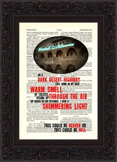 The Eagles Hotel California Song Lyrics print on by ForgottenPages, $8.00
