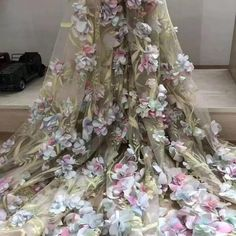 Stunning Blossom Flower lace Fabric Chiffon Flower Lace Mesh Embroidery Decorative Fabric for Wedding Gown Dress Train Sold by 1 yard White Lace Fabric, Beaded Lace Fabric, Tulle Lace, Lace Dress, Gown Dress, Stunning Wedding Dresses, Wedding Gowns, Wedding Veil, Chapel Wedding