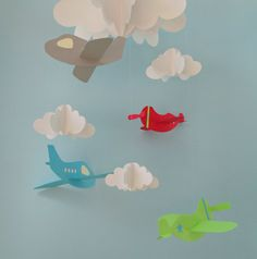 Airplane Baby Mobile, Plane Mobile, Hanging Baby Mobile, Nursery Mobile, 3D Paper Mobile via Etsy