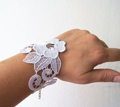 BRACELET  Handmade Floral Lace Bracelet  Golden by ArtofAccessory