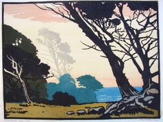 "William Seltzer Rice · ""Windblown Cypress - 1930 - Treseder 75""  William Seltzer Rice, 1873 - 1963  Color Woodcut Block Print on Paper  9"" x 12"""