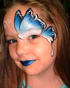 Elegant Blue Butterfly Face Painting by alison.richardsondouglas Elegant Blue Butterfly Face Painting by alison. Maquillage Halloween, Halloween Makeup, Halloween Face, Diy Halloween, Halloween Painting, Girl Face Painting, Body Painting, Face Paintings, Watercolor Painting