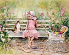 Art for children Choose print size Chatting by LaurieShanholtzer, $18.00