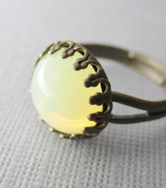 Yellow Opal Ring Antique Brass Ring Glass by pinkingedgedesigns, $16.00