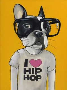 I Love HipHop French Bulldog Painting 24X30cm by blackspecs, €200,00