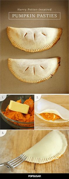 If you look up recipes for Harry Potter's pumpkin pasties on Pinterest, you'll find a slew of sweet, handheld pumpkin pies. BUT any true Harry Potter fan knows that pumpkin pasties, a Honeydukes Express snack sold on the Hogwarts Express, are supposed to be like a savory cornish pastie but filled with pumpkin instead of meat and veggies. That's why this recipe, unlike others, seasons the pumpkin filling with garlic, butter, and cheddar cheese.