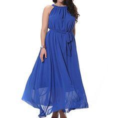 TLIH Womens Plus Size Summer Beach Maxi Long Evening Dress High Waist Blue XXXLarge