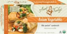 Organic #Asian Vegetable Fillo Pocket Sandwich (5 oz.) - Rice, broccoli, mushrooms, peas, carrots, peppers and onions seasoned with garlic, ginger, sesame oil and soy sauce, wrapped with Organic #Fillo dough in the shape of a hand-held rectangle. Microwavable. #Healthy: USDA #Organic, #Vegan, #Kosher OU-Parve, Yeast-Free, No Trans-Fat, No Cholesterol. See nutrition or shop online at http://www.fillofactory.com/brands/brands-aunt-trudys.html.