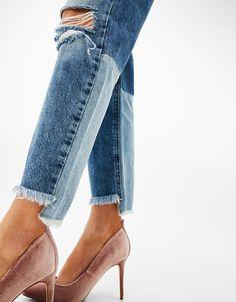 Jean girlfriend fit bas contrastant - Jeans - Bershka France